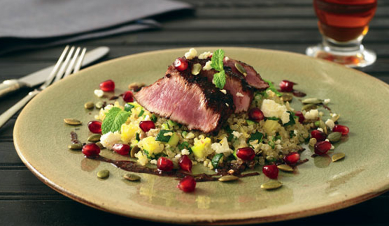 Grilled lamb loin with spiced pomegranate glaze recipe
