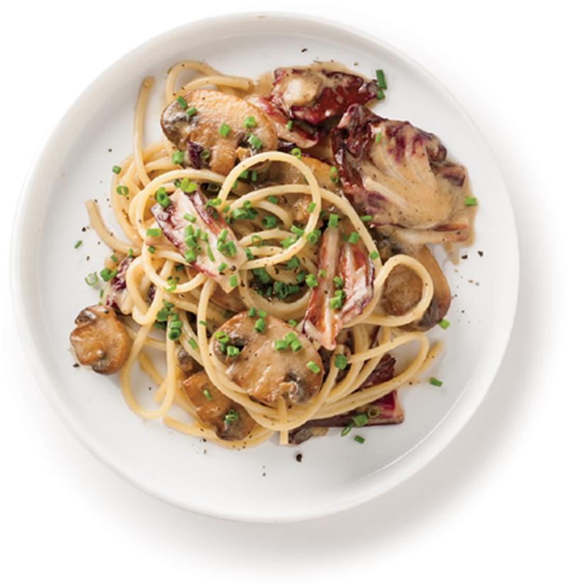 Mushroom and radicchio spaghetti recipe