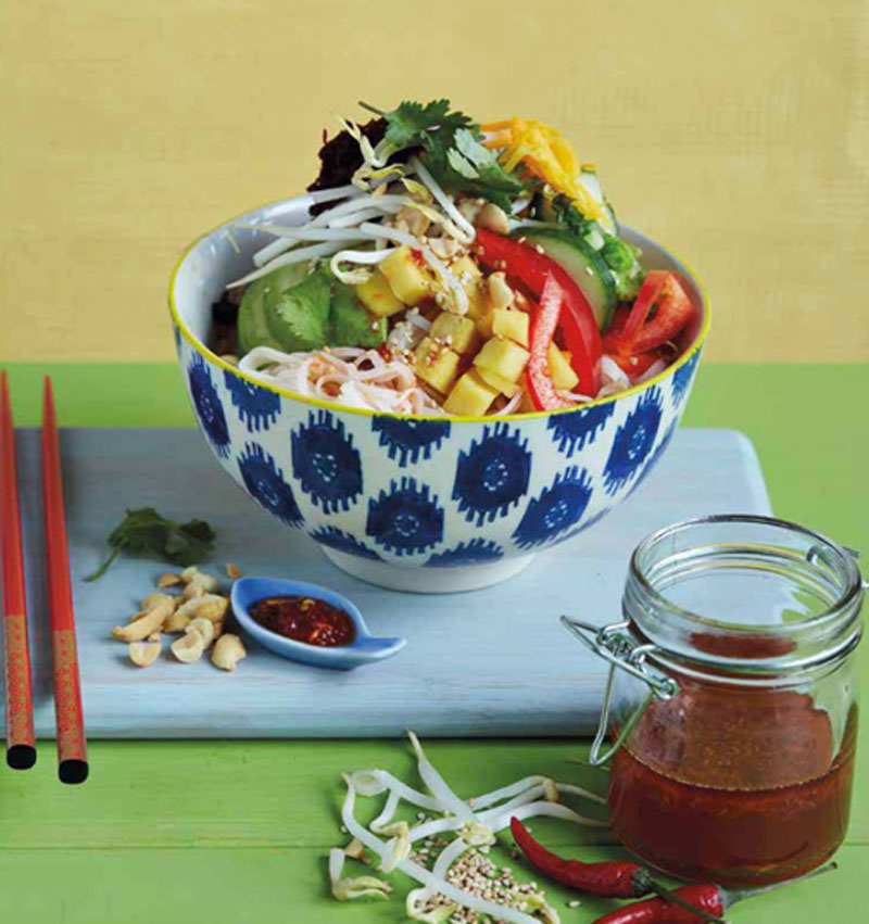 Rice noodle salad with all the veggies recipe