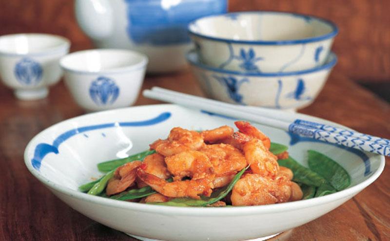 Stir-fried shrimp with chili sauce recipe