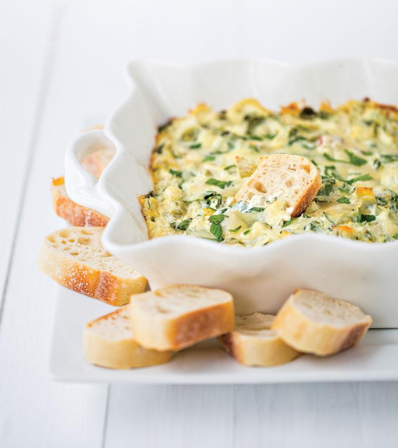 Three-cheese hot spinach artichoke dip recipe
